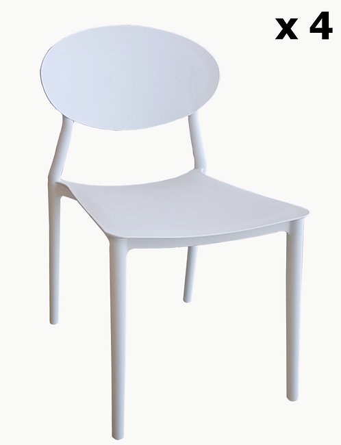 Set di 4 sedie  BISTROT in polipropilene bianco