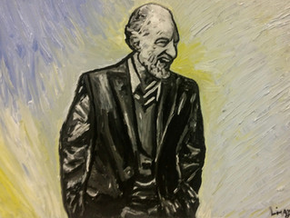 A painted portrait of Artistic Managing Director Bill Millerd upon his retirement from the Arts Club