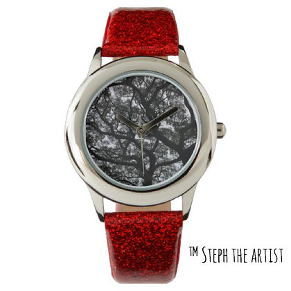 Red Glitter Watch / Ancient Haitian Trees