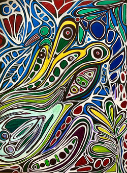 Jungle Illusions_ 2021 Steph Limage Freehand Acrylic on Canvas 5 feet x 31_2 feet