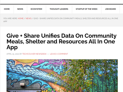 Give + Share Featured in Techcouver