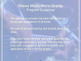 Applications for the Ottawa Music Micro-Grants program are now open!