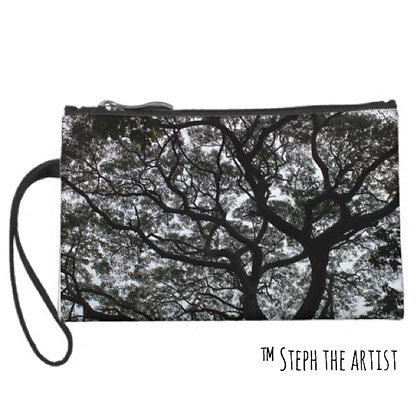 Wristlet Womens Clutch / Ancient Haitian Trees