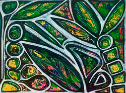 She Could be Healed_ - 2021 Freehand Acrylic on Canvas 1 1_2 feet x 1 feet