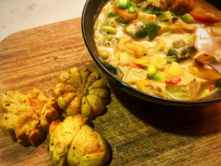 Truffle Tofu and Vegetable Stew with Cheezy Scallion Dinner Muffins