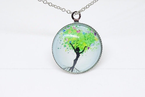Tree Glass Pendant (Style 2) Necklace [Pack of 1]