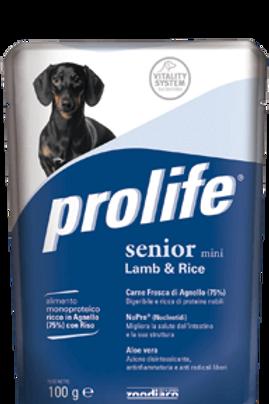 Alimento umido per cani con agnello e riso PROLIFE WET MINI SENIOR cf da 100g