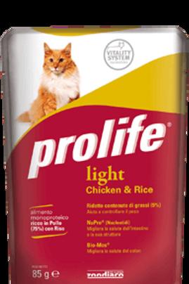 Alimento completo  monoproteico PROLIFE gatto LIGHT POLLO RISO 85 g