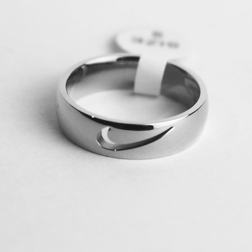 SWOOSH RING CUT OUT SILBER