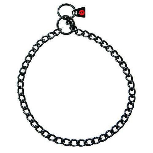 Collare a strozzo in acciaio nero con maglia da 2.5 mm
