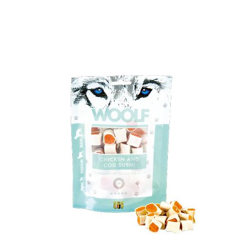 SNACK WOOLF PER CANI DI TAGLIA MEDIA 100g