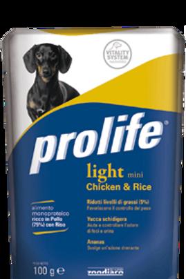 Alimento umido per cani PROLIFE WET LIGHT MINI al pollo è riso cf da 100g