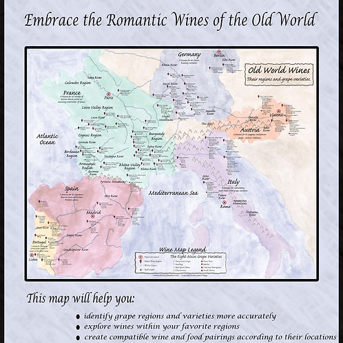 18 x 24 OLD WORLD WINE MAP (SHIPPING ONLY)