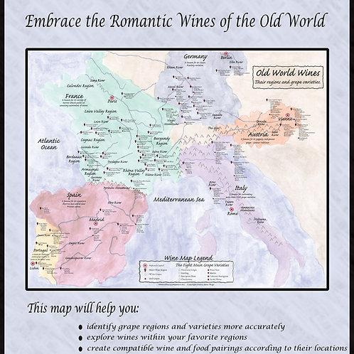18 x 24 OLD WORLD WINE MAP (AVON LAKE, OHIO PICK-UP ONLY)