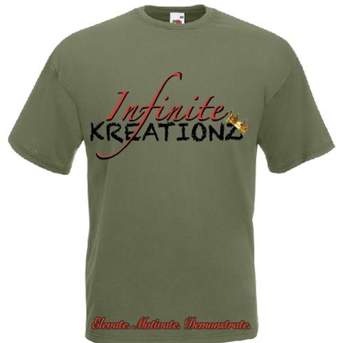Elevate. Motivate. Demonstrate Infinite Kreationz Army Green Shirt