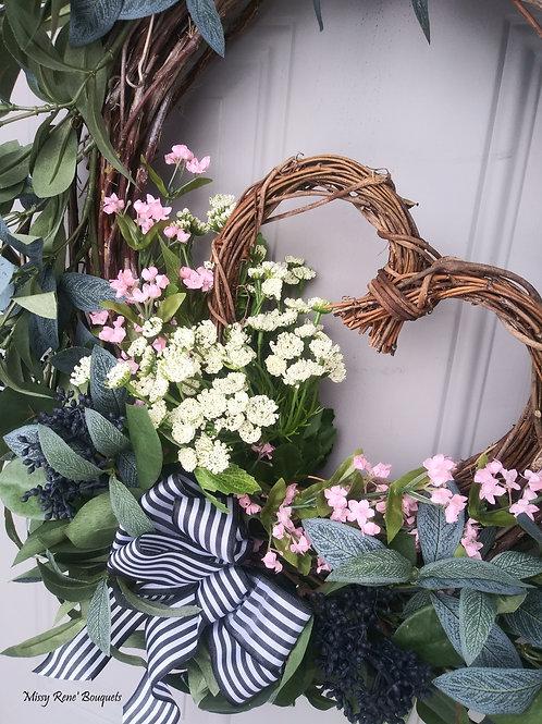 Valentines Wreath  Farmhouse Decor  Grapevine Heart Wreath  Olive Greenery