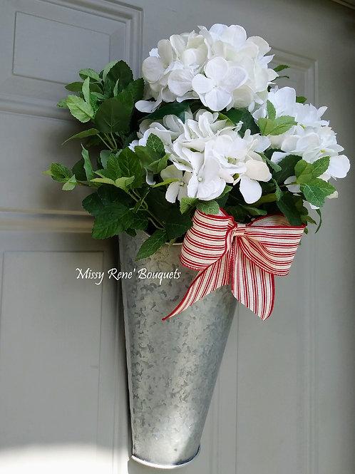Summer Wreath for Front Door, 4th of July Bucket Hanger, White Hydrangea Bucket