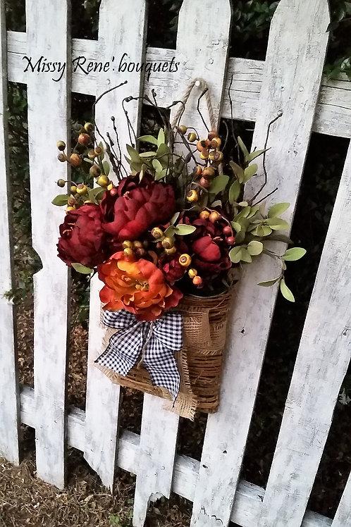 Fall Basket Hanger, Wreath for Front Door, Peony Flower Wreath, Fall Wreath, Tre