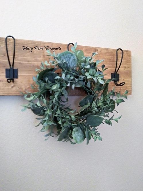 Eucalyptus Wreath, Greenery Wreath, Mini Farmhouse Wreath, Candle Wreath