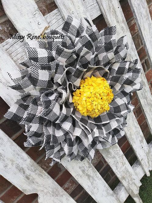 Farmhouse Buffalo Check Sunflower Wreath  Fall Decor  Front Door Wreath  Black &