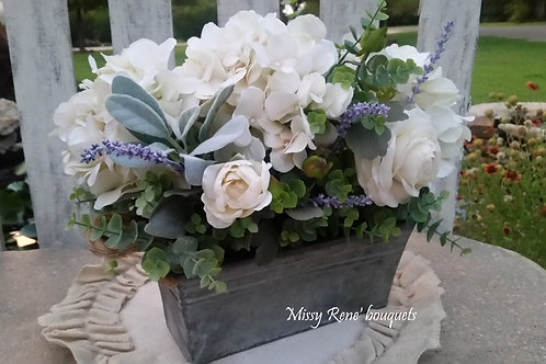 Farmhouse Floral Arrangement, Galvanized Decor, Farmhouse Centerpiece, Gift, Wed