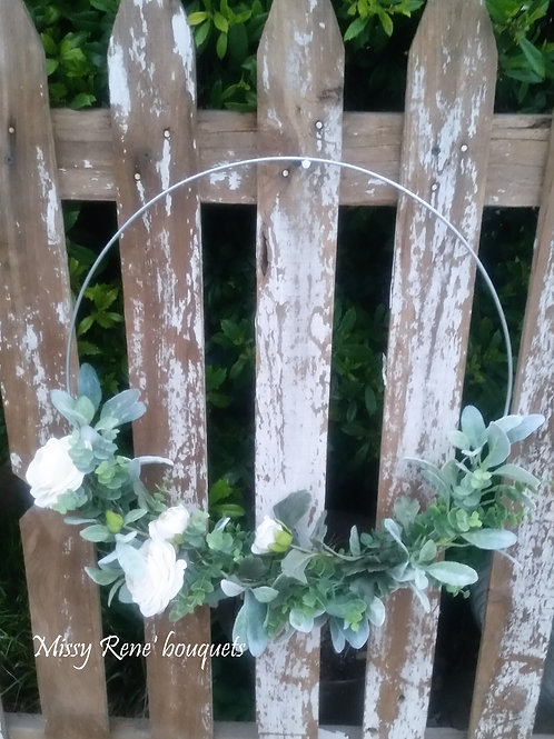Hoop Wreath, Summer Wreath, Spring Wreath, Farmhouse Wreath, Wedding Decor, Fron