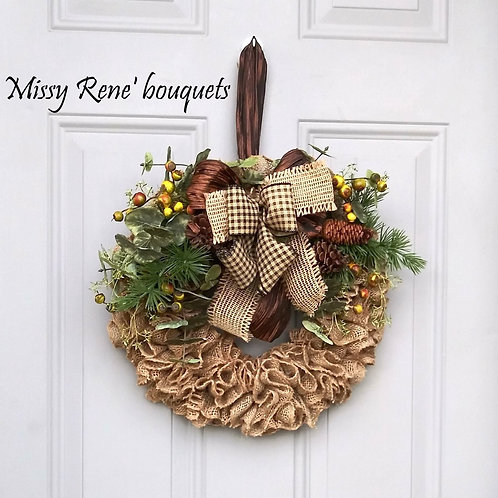 Fall Burlap Wreath  Rustic Autumn Wreath  Buffalo Plaid Bow Wall Decor  Front Do