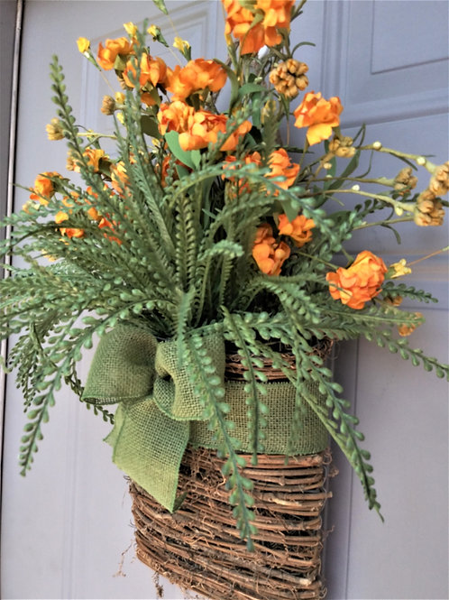 Basket Wreath for Front Door, Orange Wild Flower Basket, Summer Wreath, Spring W