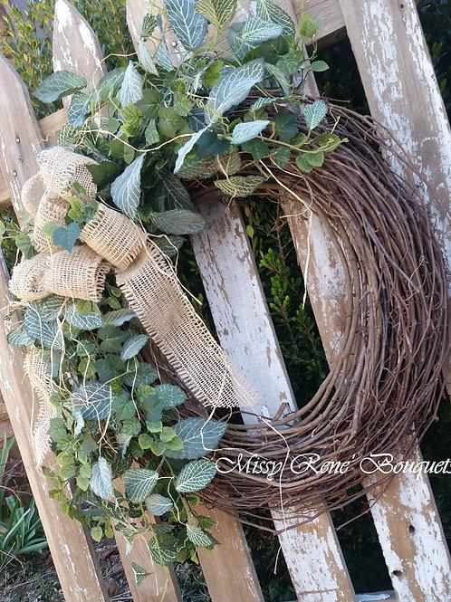 Summer Wreath, Greenery Wreath, Spring Wreath, All Year Wreath, Ivy Wreath, Grap