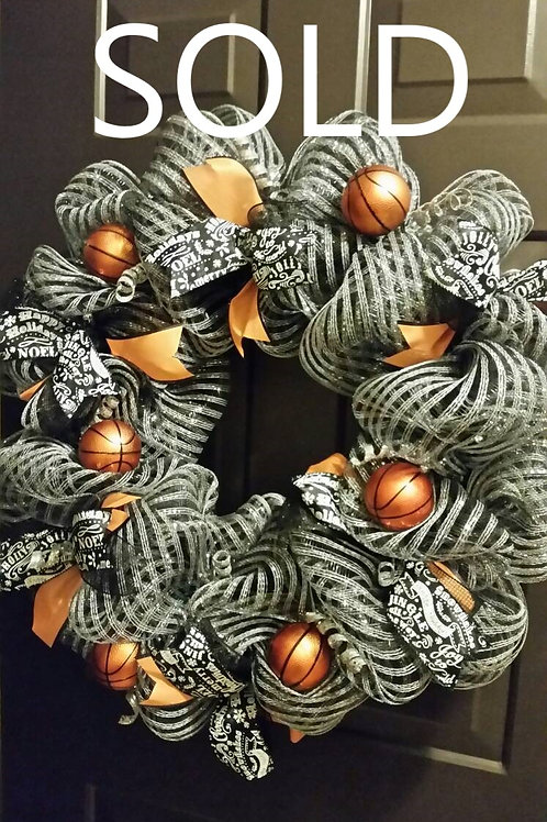 Large Christmas Deco Mesh Sports Wreath