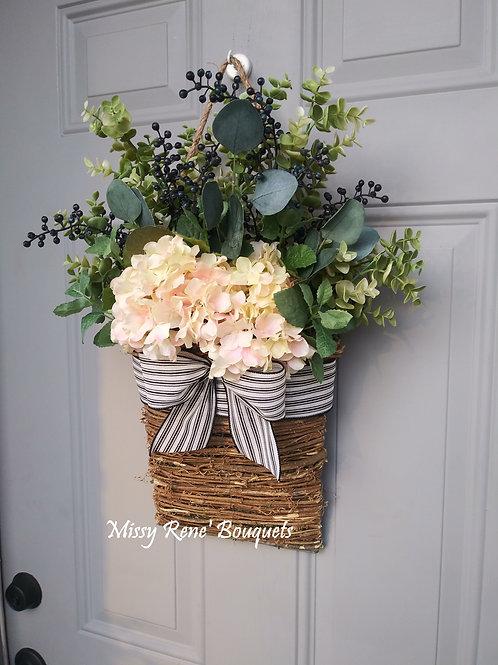 Soft Blush Hydrangea Flower Basket, Front Door Decor, Summer Basket Hanger