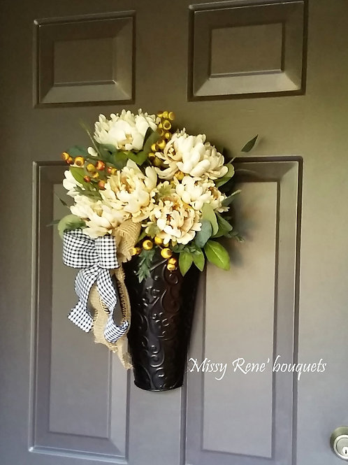 Fall Wreath for Front Door, Cream Peony Flowers BuffaloCheck Plaid and Burlap B