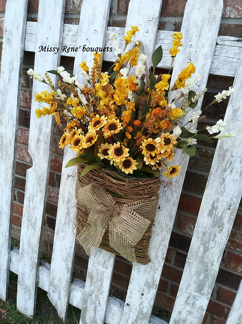 Sunflower Basket Hanger Wreath  Fall Front Door Wreath  Wall Decor by Missy Rene
