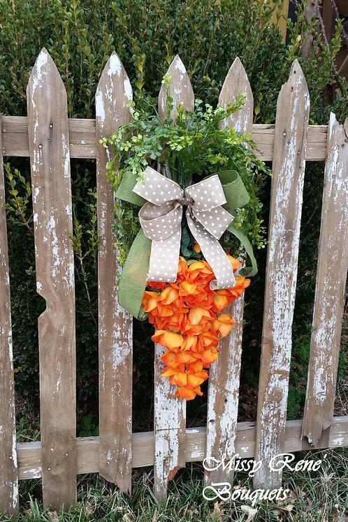 Hippity Hoppity Carrot Wreath Door Hanger Easter Wreath Orange Rose Wreath Sprin