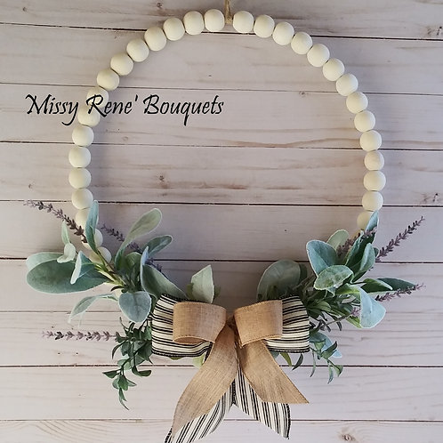 Wood Bead Wreath Wall Décor Lambs Ear & Lavender Hoop Wreath Year Round