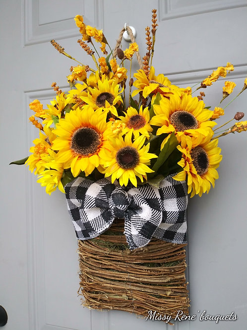 Sunflower Buffalo Check Basket Fall Wreath Farmhouse Door Hanger by Missy Rene'