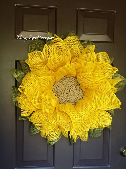 Sunflower Wreath for Front Door, Fall Decor, Sunflower Burlap Wreath, Deco Mesh