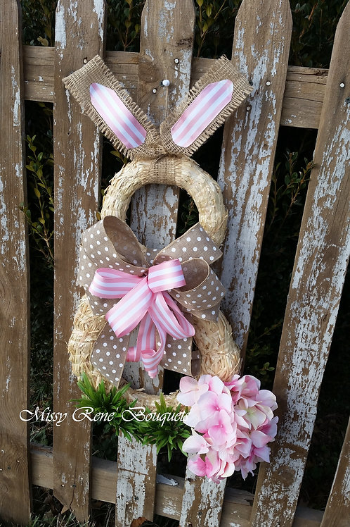 Bunny Wreath,  Spring Wreath,  Straw Wreath,  Spring Door Hanger, Easter Wreath,