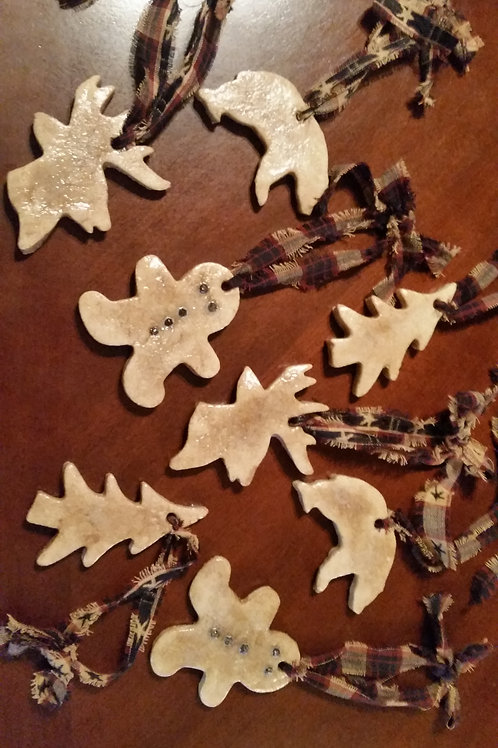 RUSTIC CHRISTMAS, Salt Dough Ornaments , Gingerbread Men, Buck, Deer, Bear, Pine