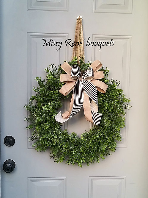 Farmhouse Boxwood Wreath  Green Wreath  All Season Wreath Summer Wreath Rustic D