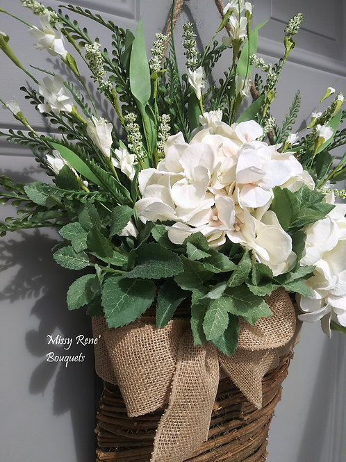 Basket Wreath for Front Door, Creamy Vanilla Hydrangea Flower Basket, Summer Wre