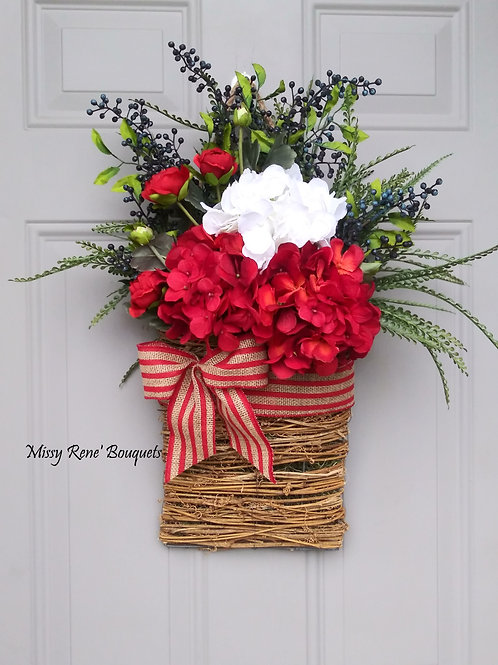 Basket Wreath for Front Door, 4th of July Flower Basket, Patriotic Independence