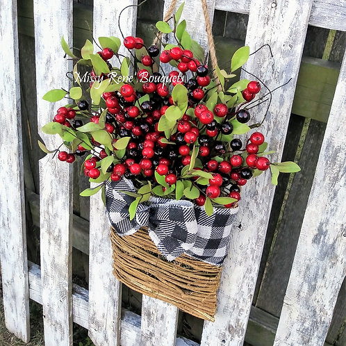 Red Berries Christmas Wreath Basket Door Hanger, Front Door Wreath, Winter