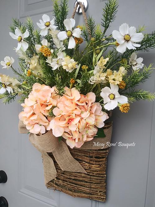 Basket Wreath for Front Door, Peach Hydrangea Flower Basket, Summer Wreath, Spri