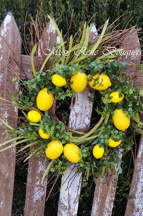 Lemon Wreath, Farmhouse Wreath, Spring Wreath, Summer Wreath, Farmhouse Decor, F