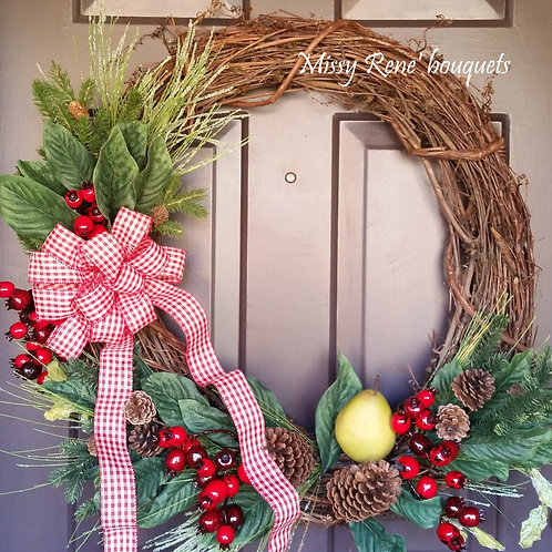 RUSTIC CHRISTMAS Wreath, Grapevine Wreath, Fruit Wreath, Country Christmas Wreat