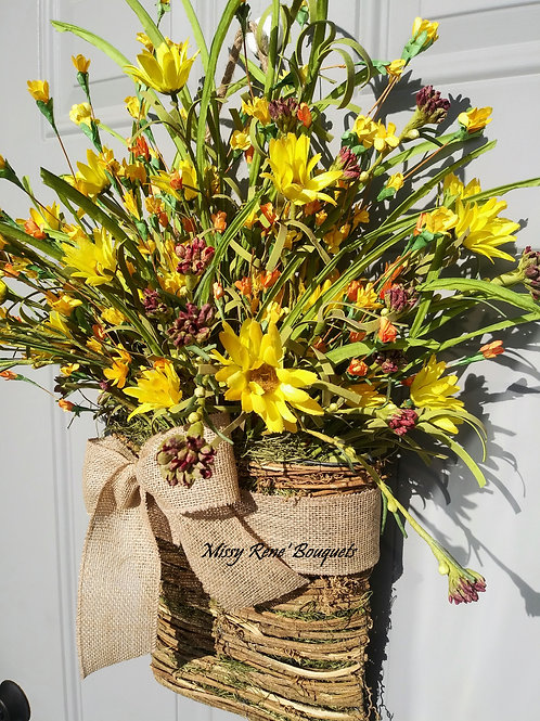 Basket Wreath for Front Door, Wildflower Wreath, Summer Wreath, Fall Wreath, Spr