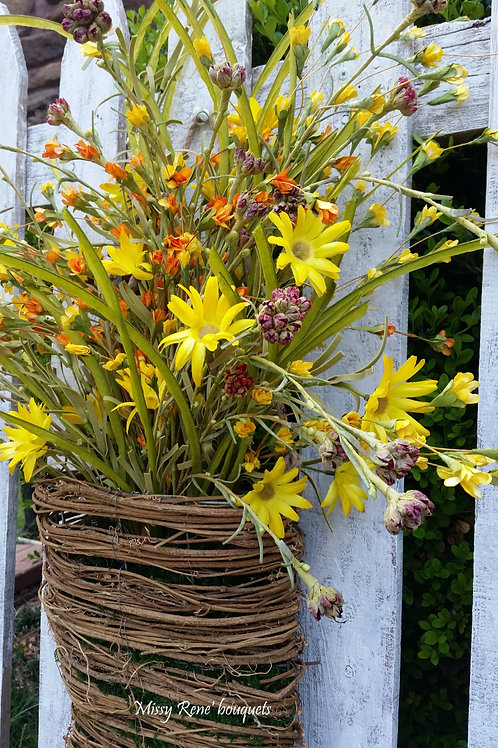 Basket Wreath for Front Door, Wildflower Wreath, Summer Wreath, Fall Wreath, Spr