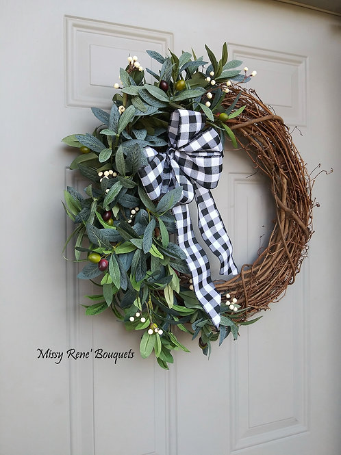 Olive Wreath,  Fall Wreath for Front Door, Buffalo Check Grapevine, Greenery Wal