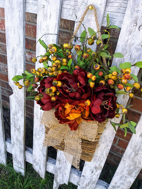 Fall Basket Hanger, Wreath for Front Door, Peony Flower Wreath, Fall Wreath, Wal